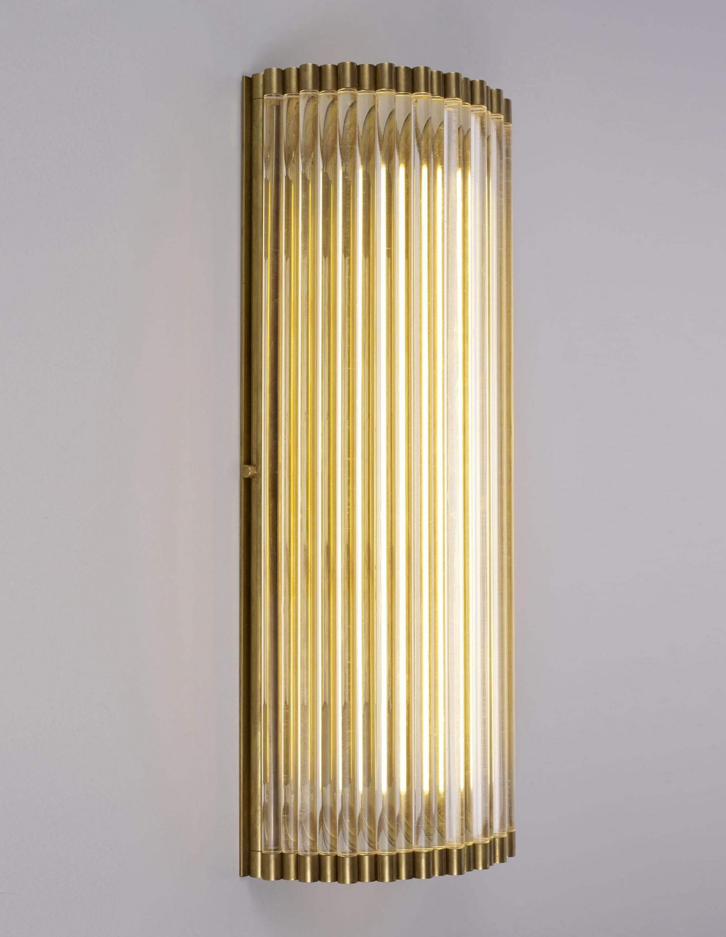 wall light with glass rods