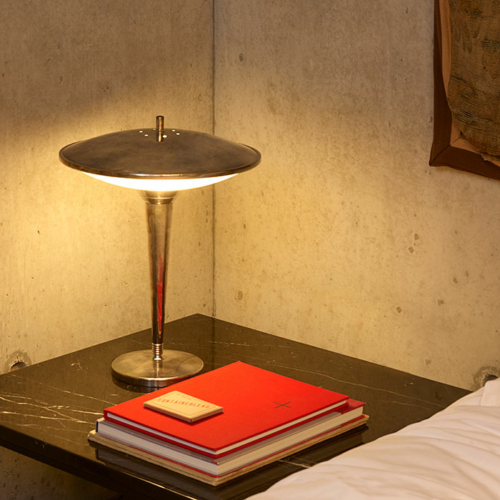 Roswell brass Art Deco style table lamp by Collier Webb