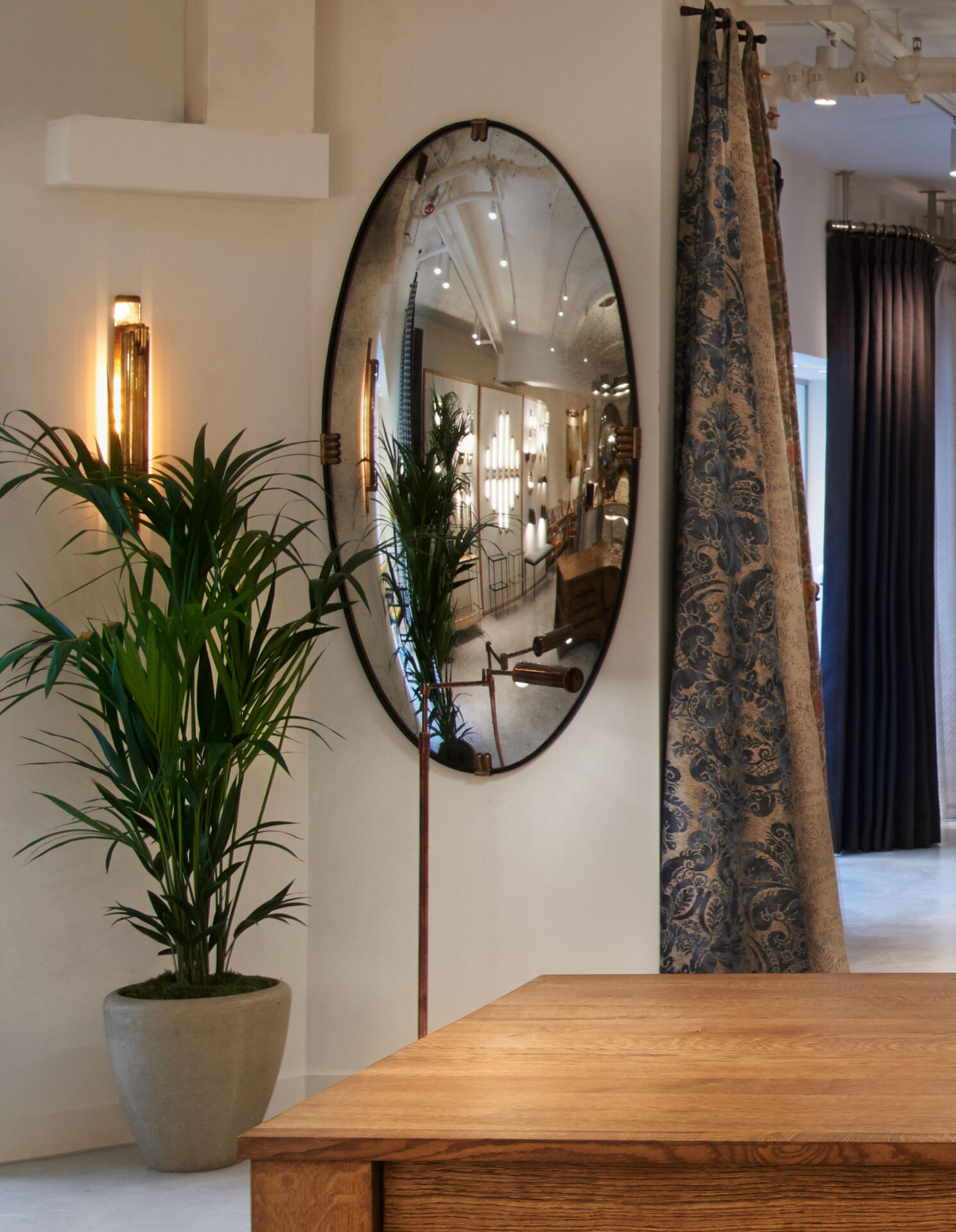 Oval Convex Mirror at the Collier Webb Design Centre Chelsea Harbour showroom