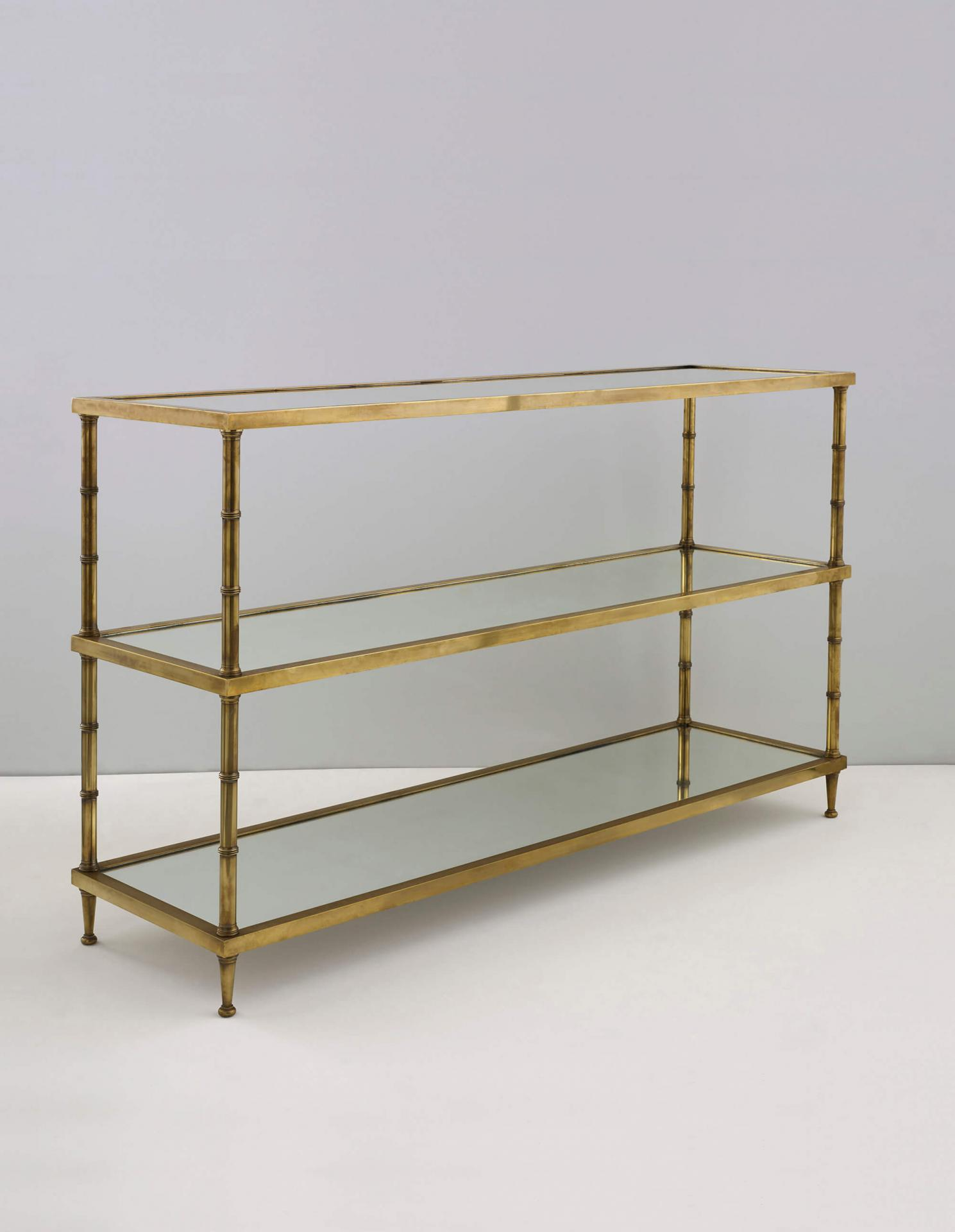 brass etagere by Collier Webb, available in a number of metal finishes and shelf options