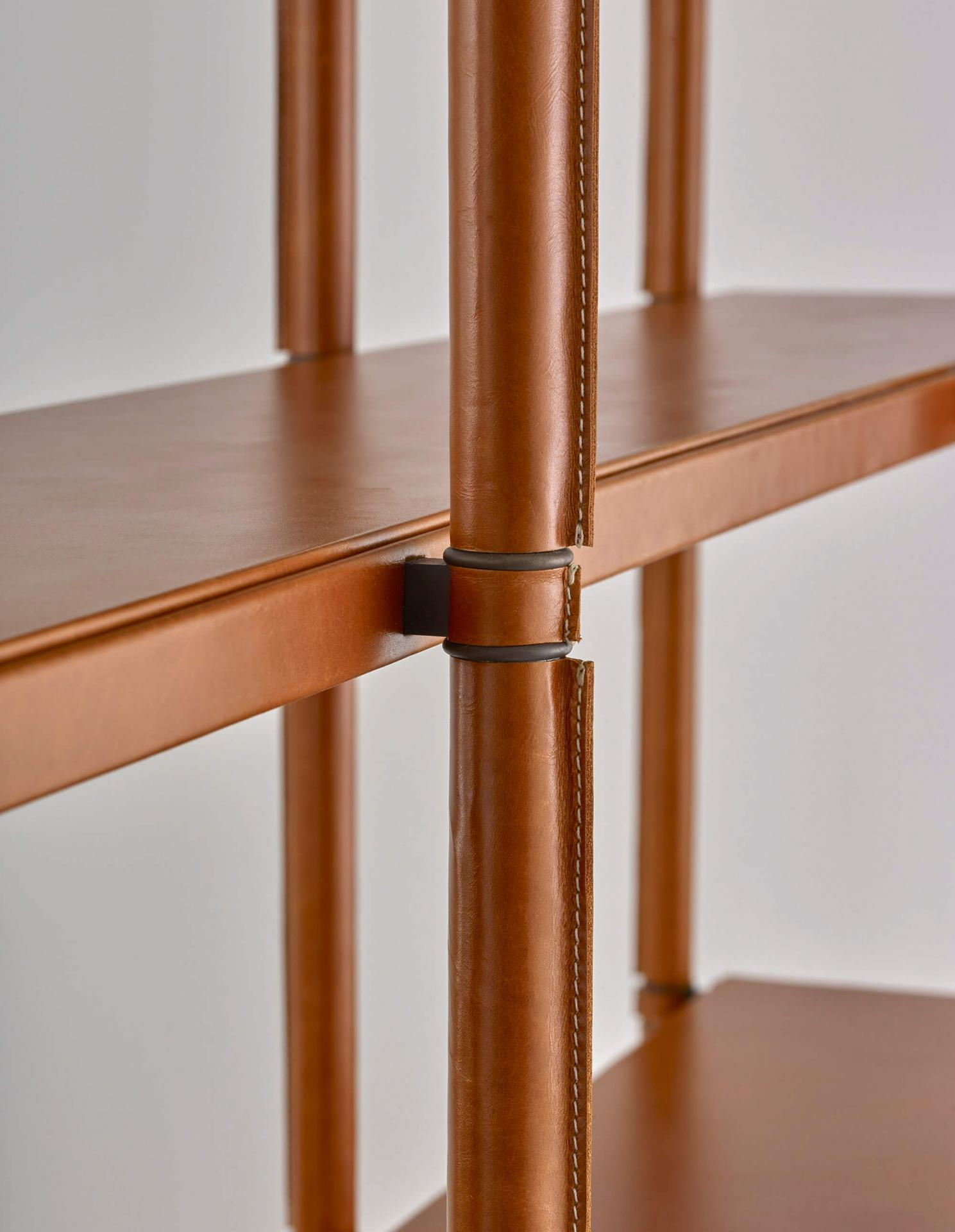 leather wrapped bookcase