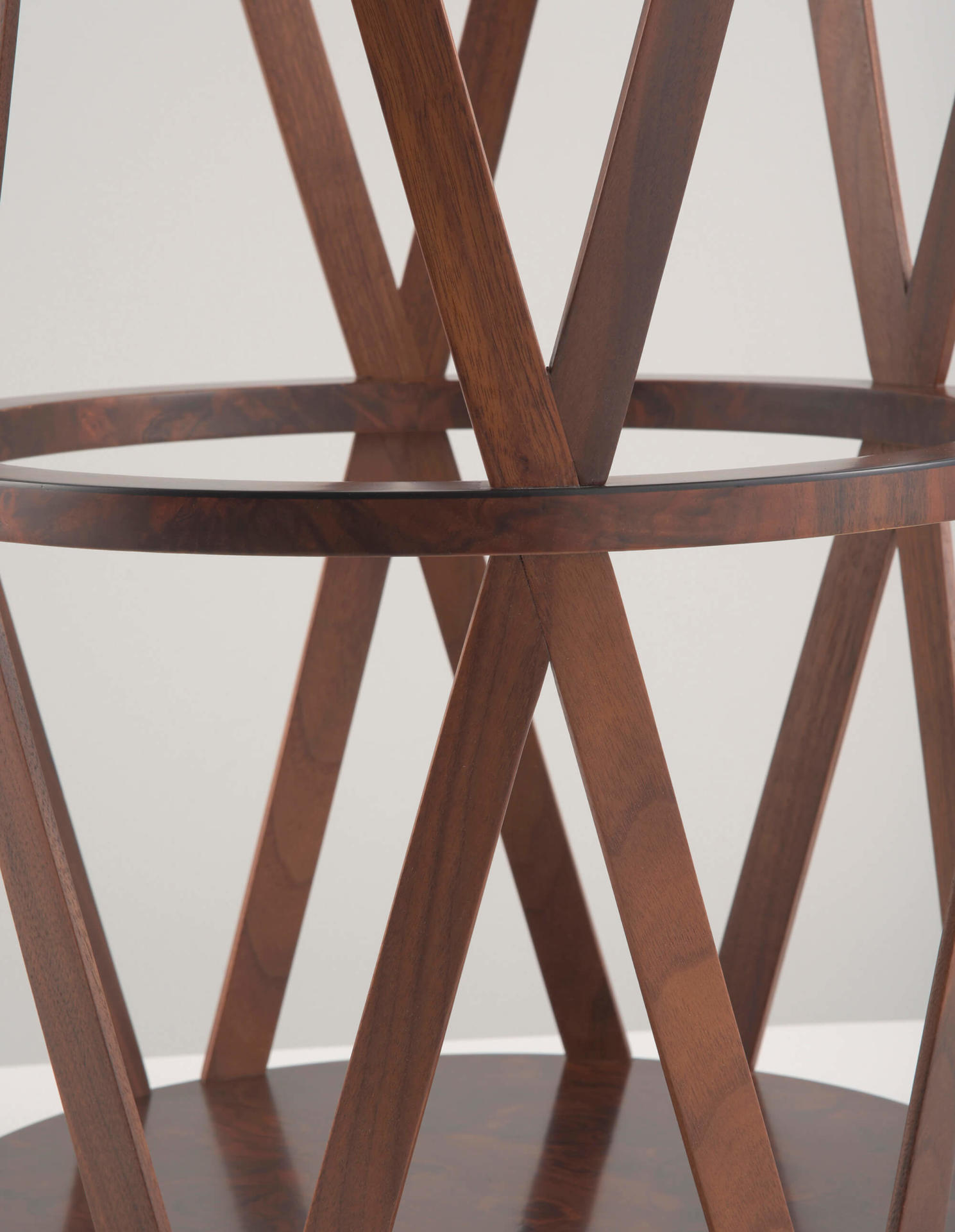 wood drum table by Collier Webb