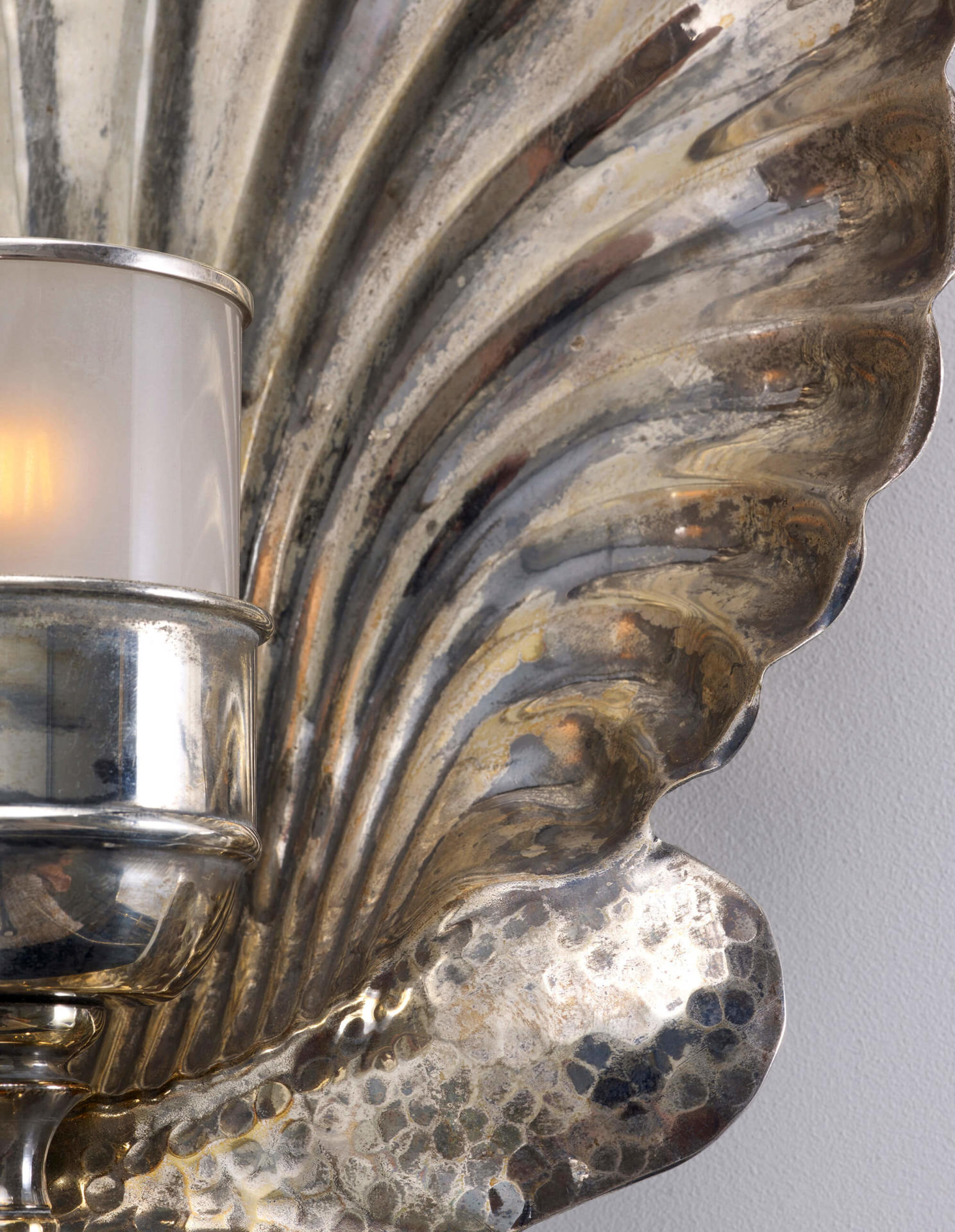 Brass Wall Sconce in the shape of an Oyster Shell