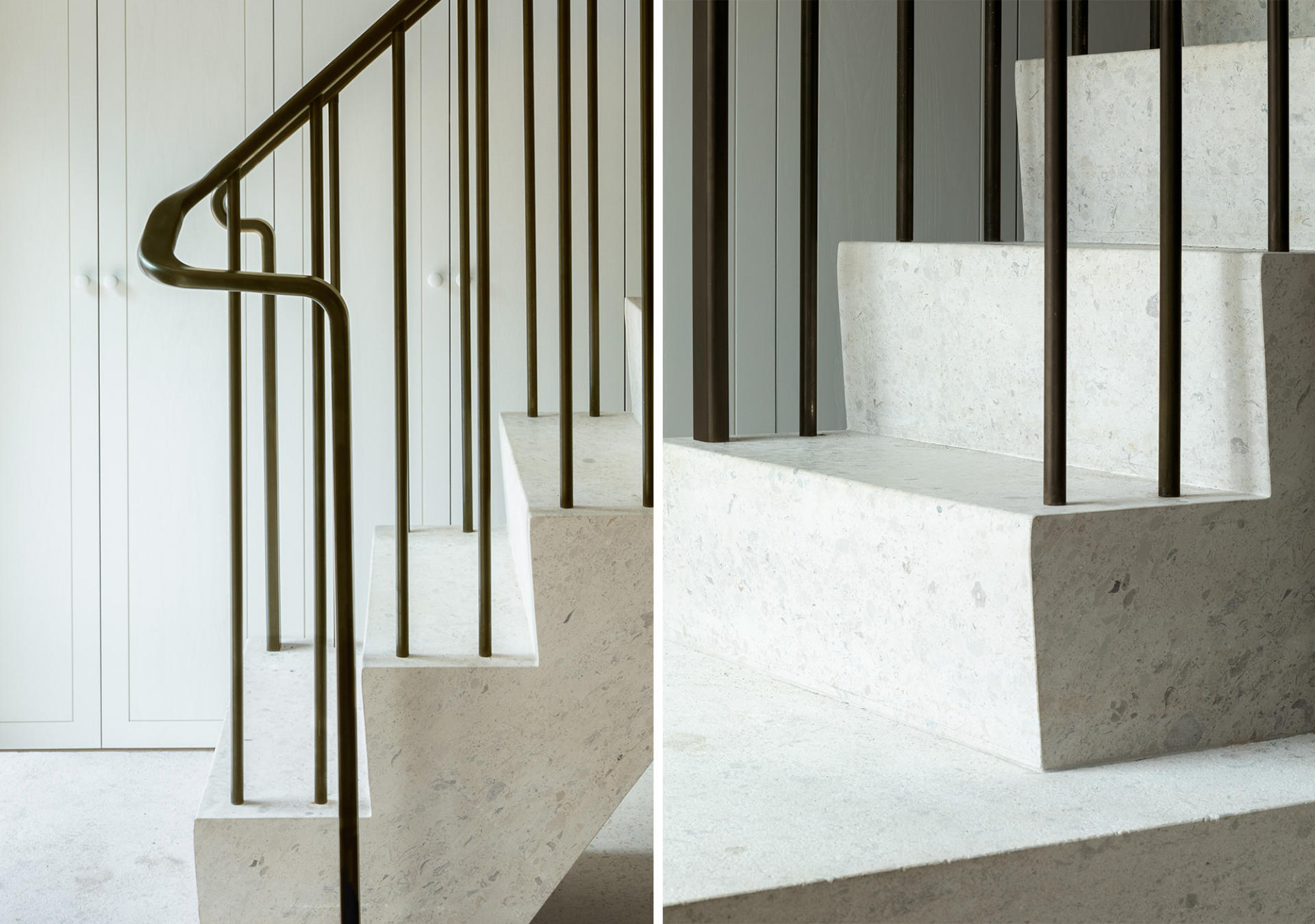 Curved staircase hand rail and balustrade made for West Architecture by Collier Webb