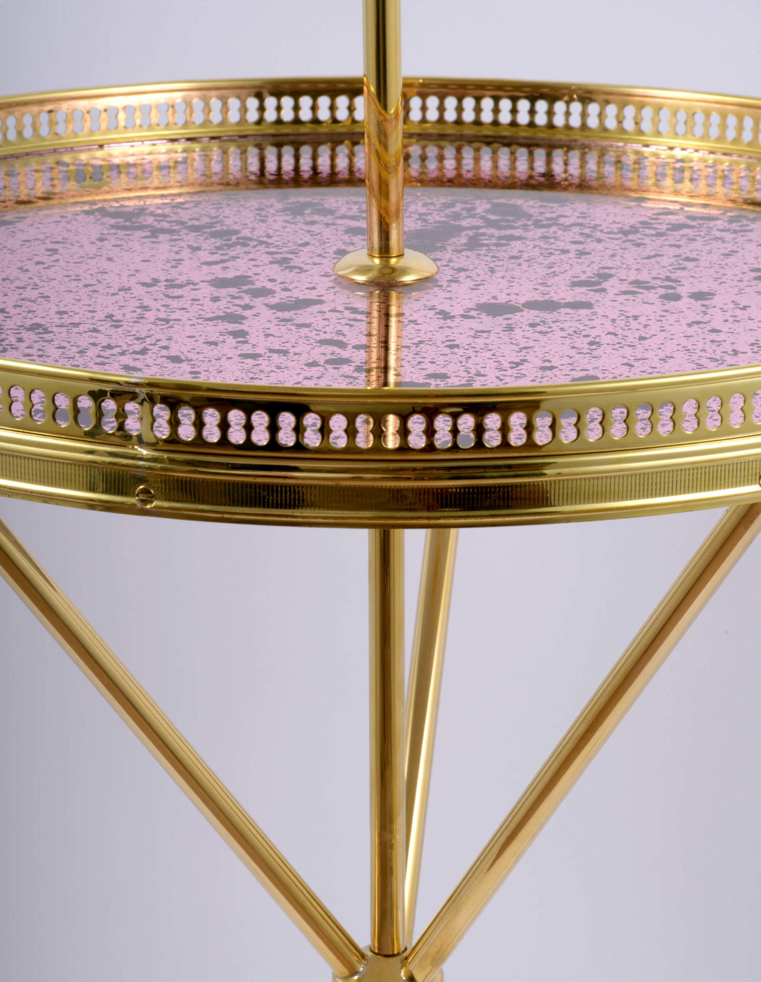 brass floor lamp with tray table