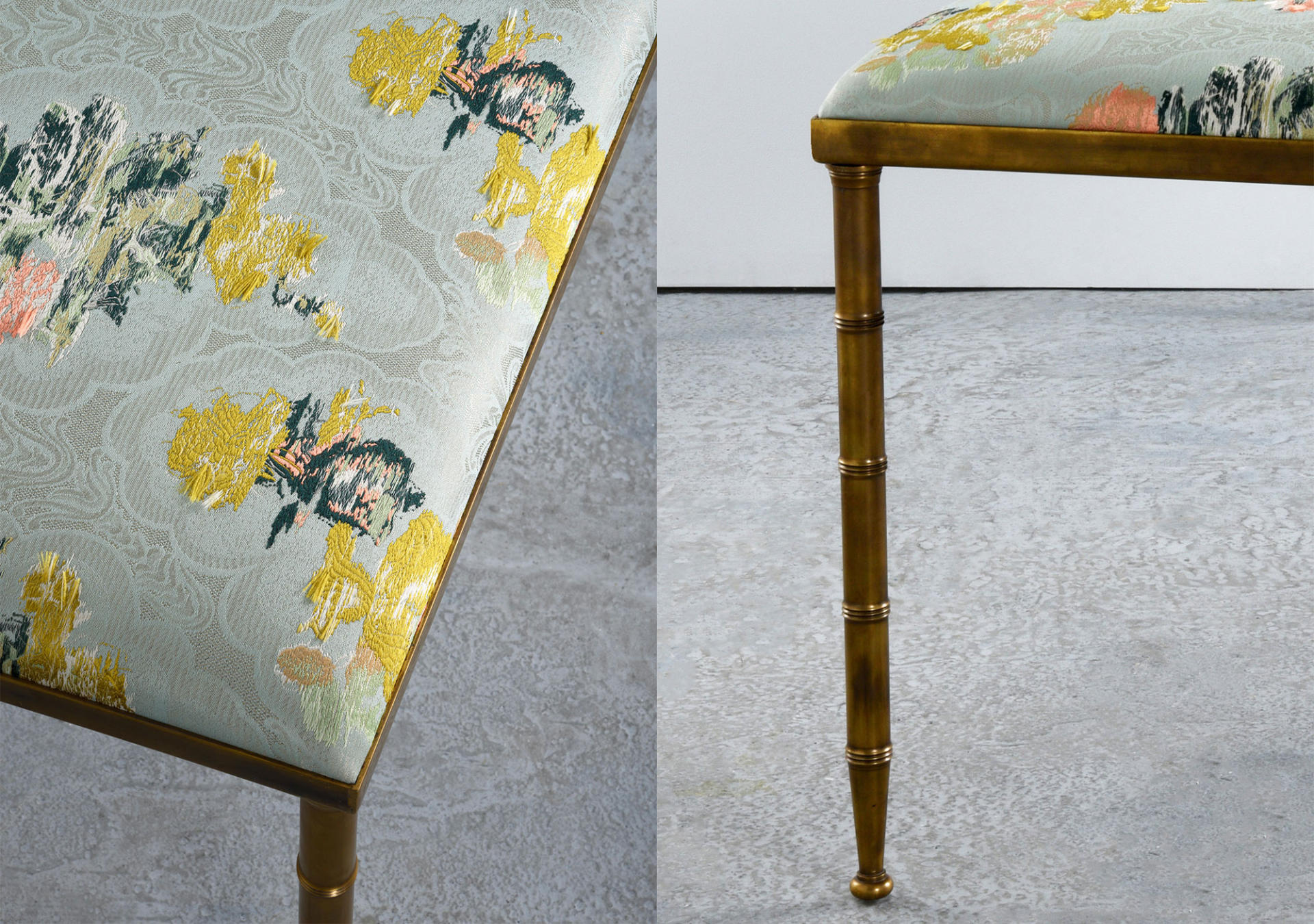 Collier Webb Brass bench with Dedar fabric