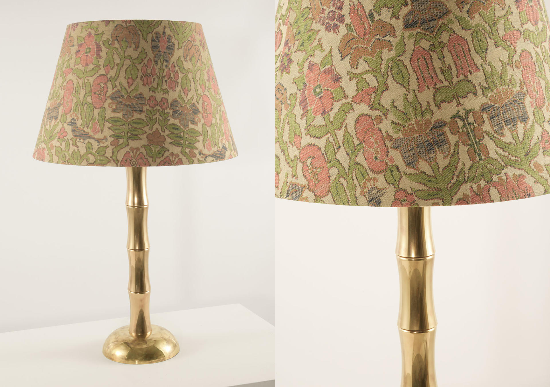 Bamboo_solid_brass_lamp_with_Gainsborough_Fabric_Hoopoo