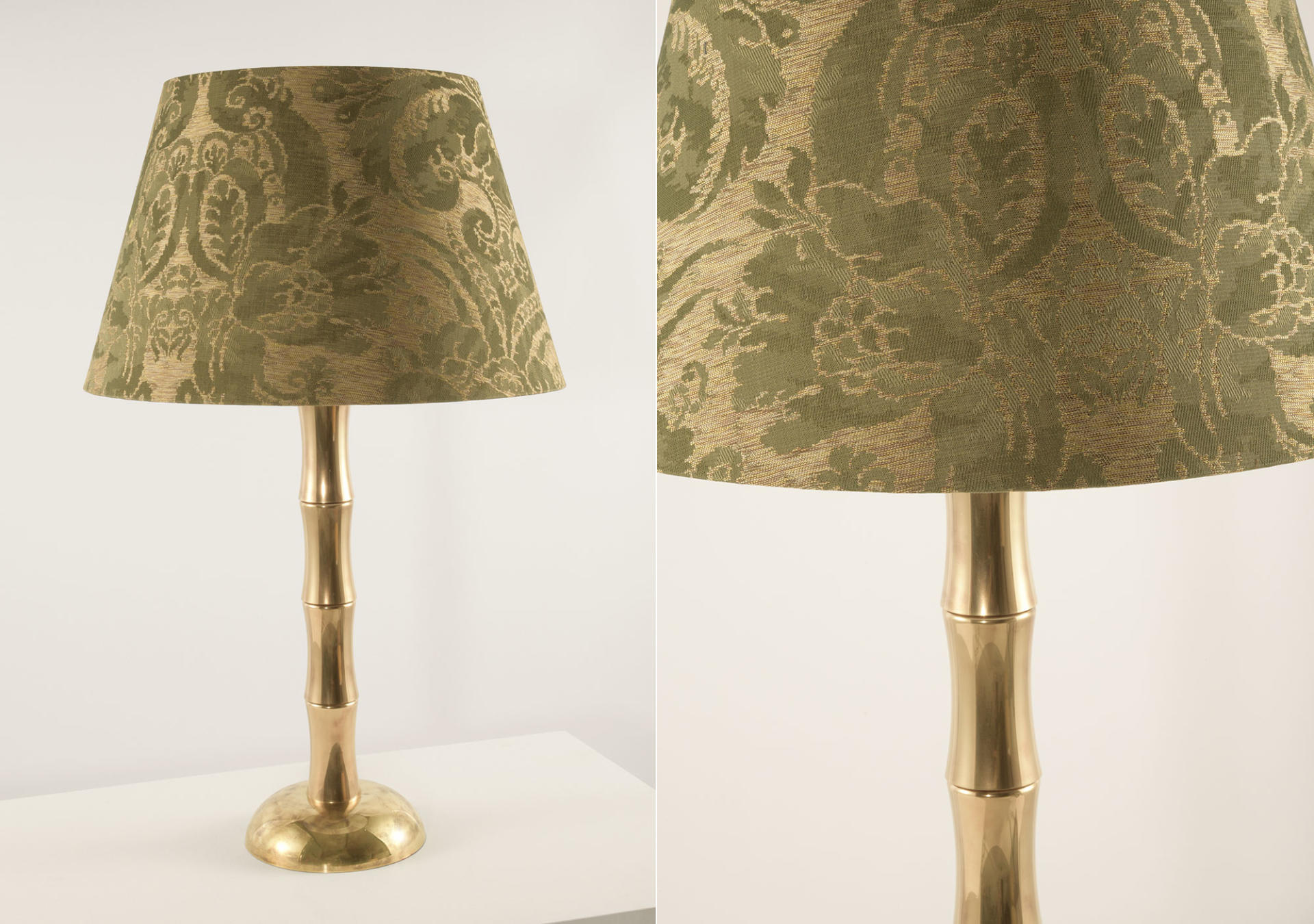 Bamboo_solid_brass_lamp_with_Gainsborough_Fabric_Medici