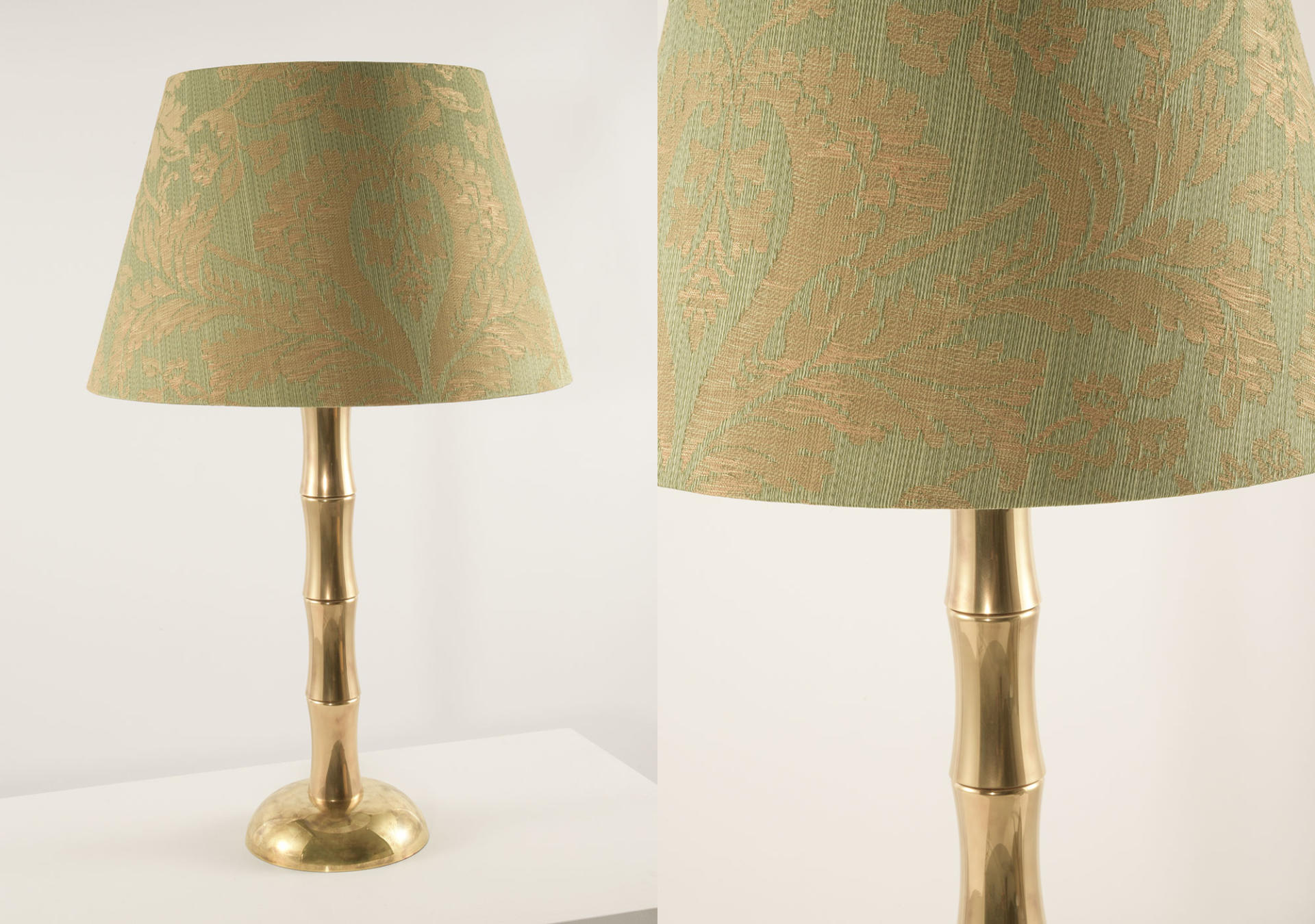 Bamboo_solid_brass_lamp_with_Gainsborough_Fabric_Newstead_Jaspe_Green