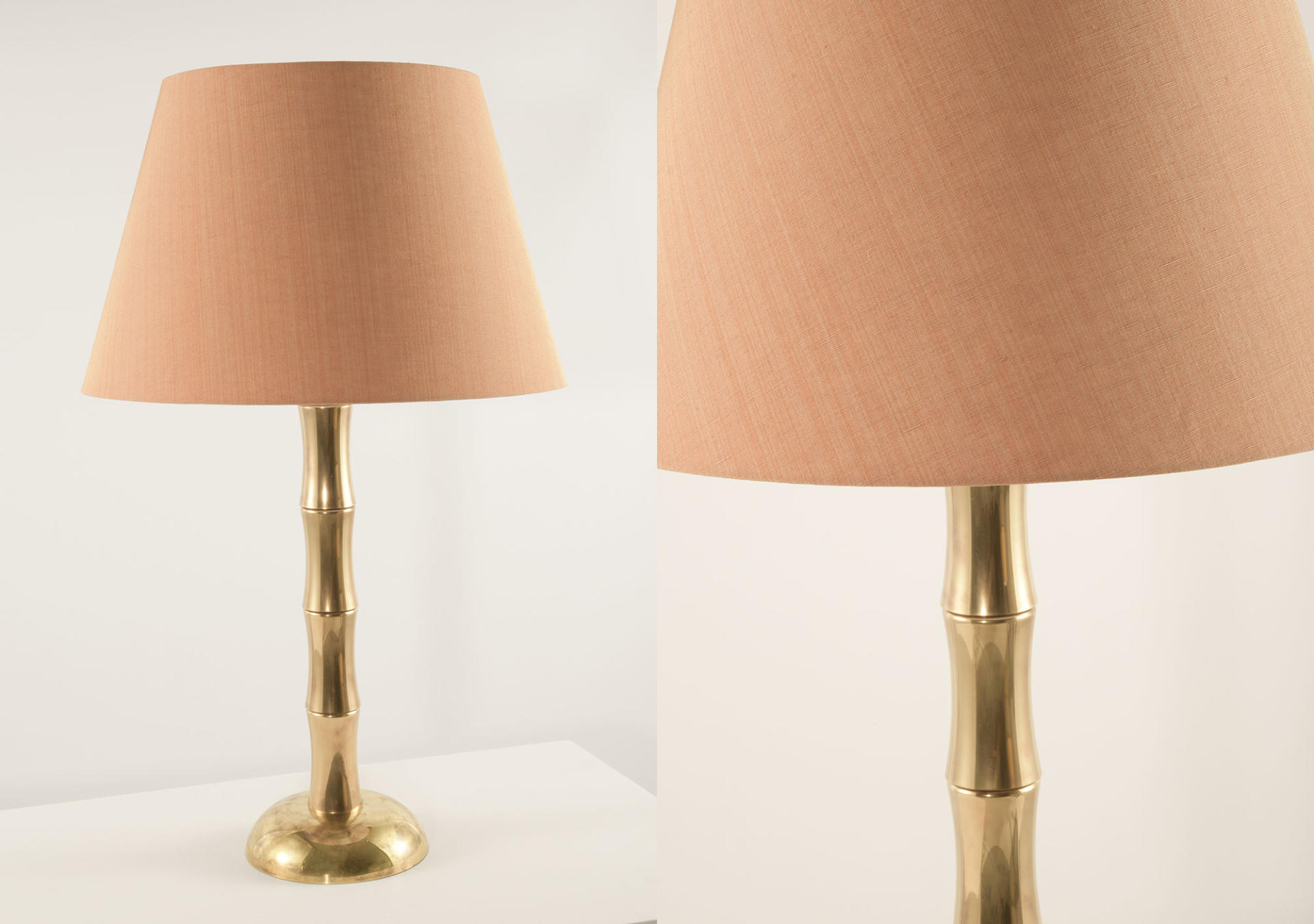 Bamboo_solid_brass_lamp_with_George_Spencer_Designs_Fabric_Strie_Coral