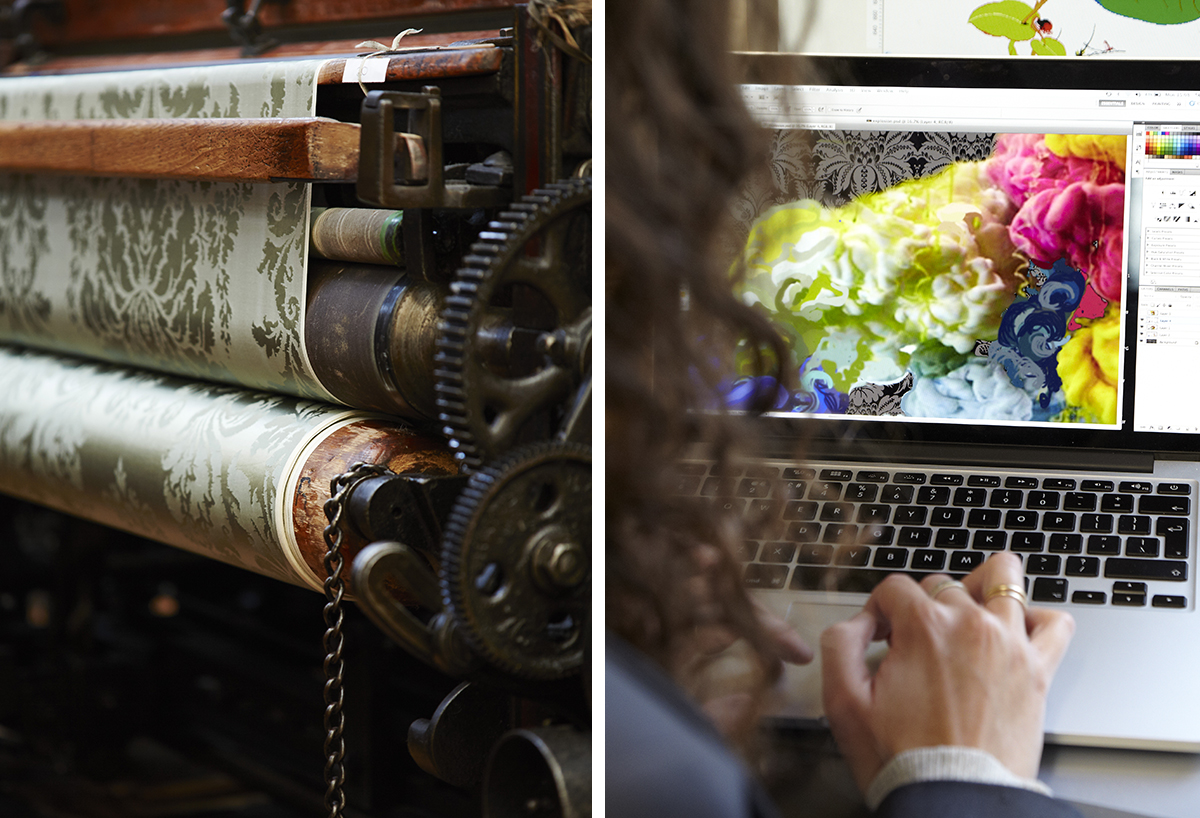 Left: The historic looms at the Gainsborough Mill Right: Dominique in the design studio