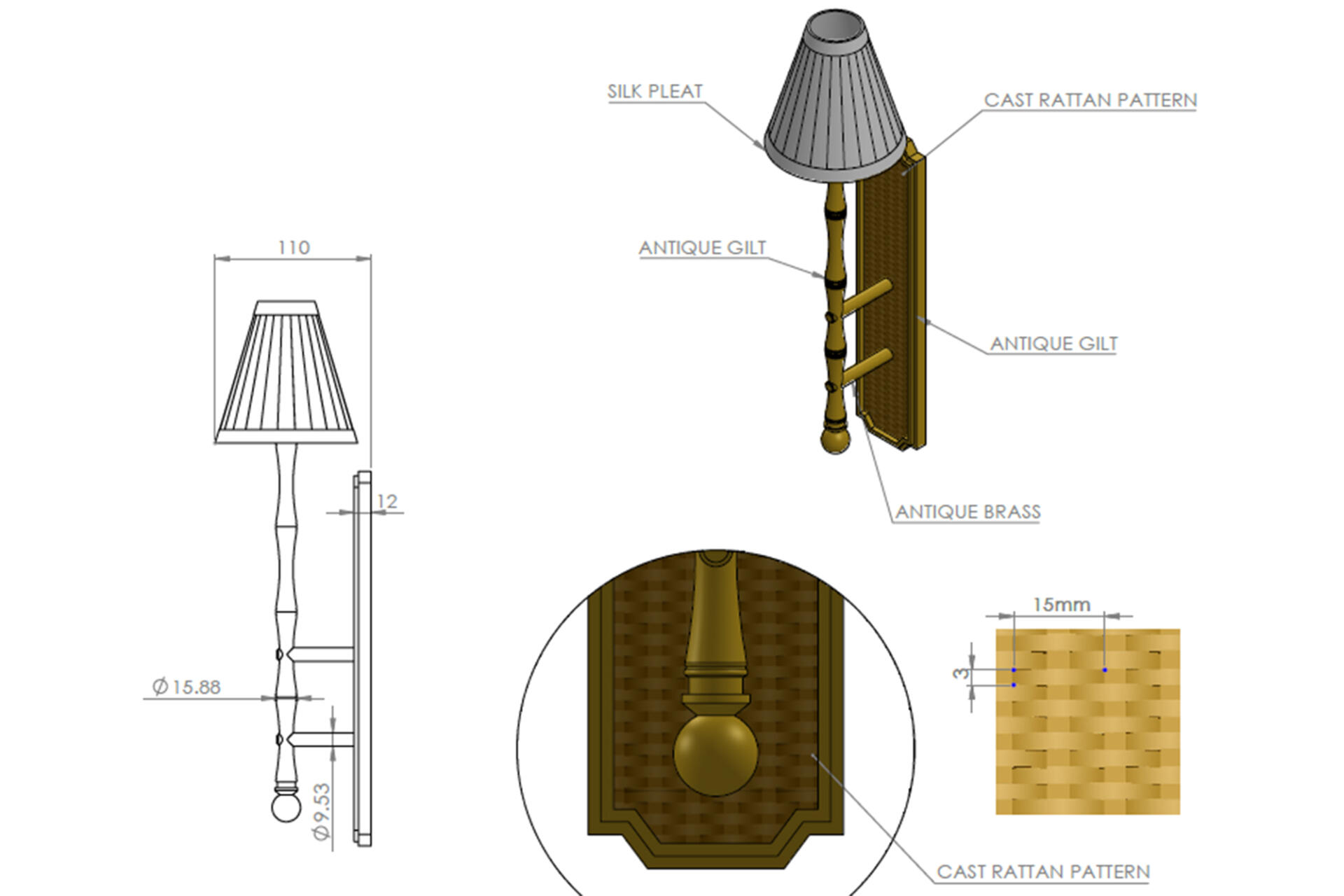 Handcrafted Bamboo wall light