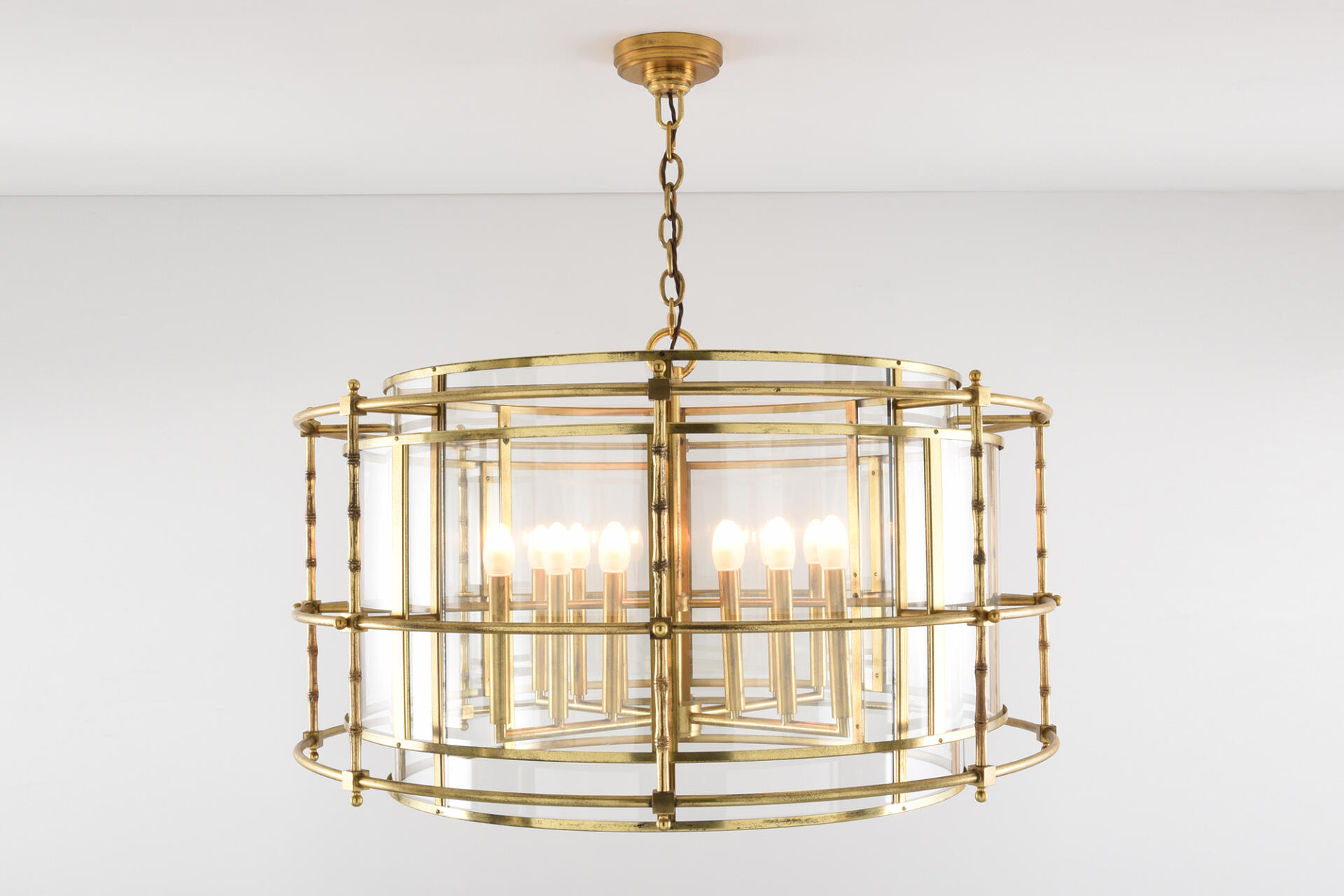 Brass bamboo style ceiling light