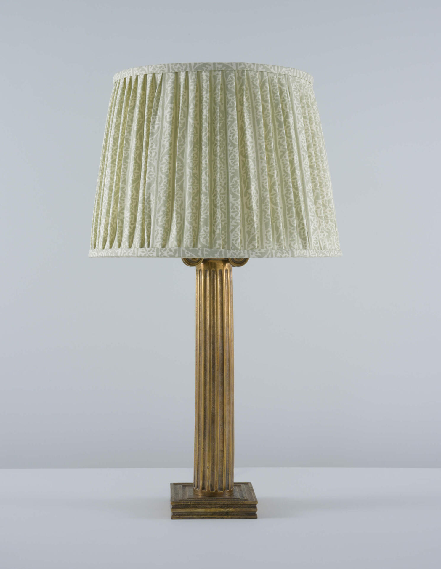 Neoclassical brass table lamp