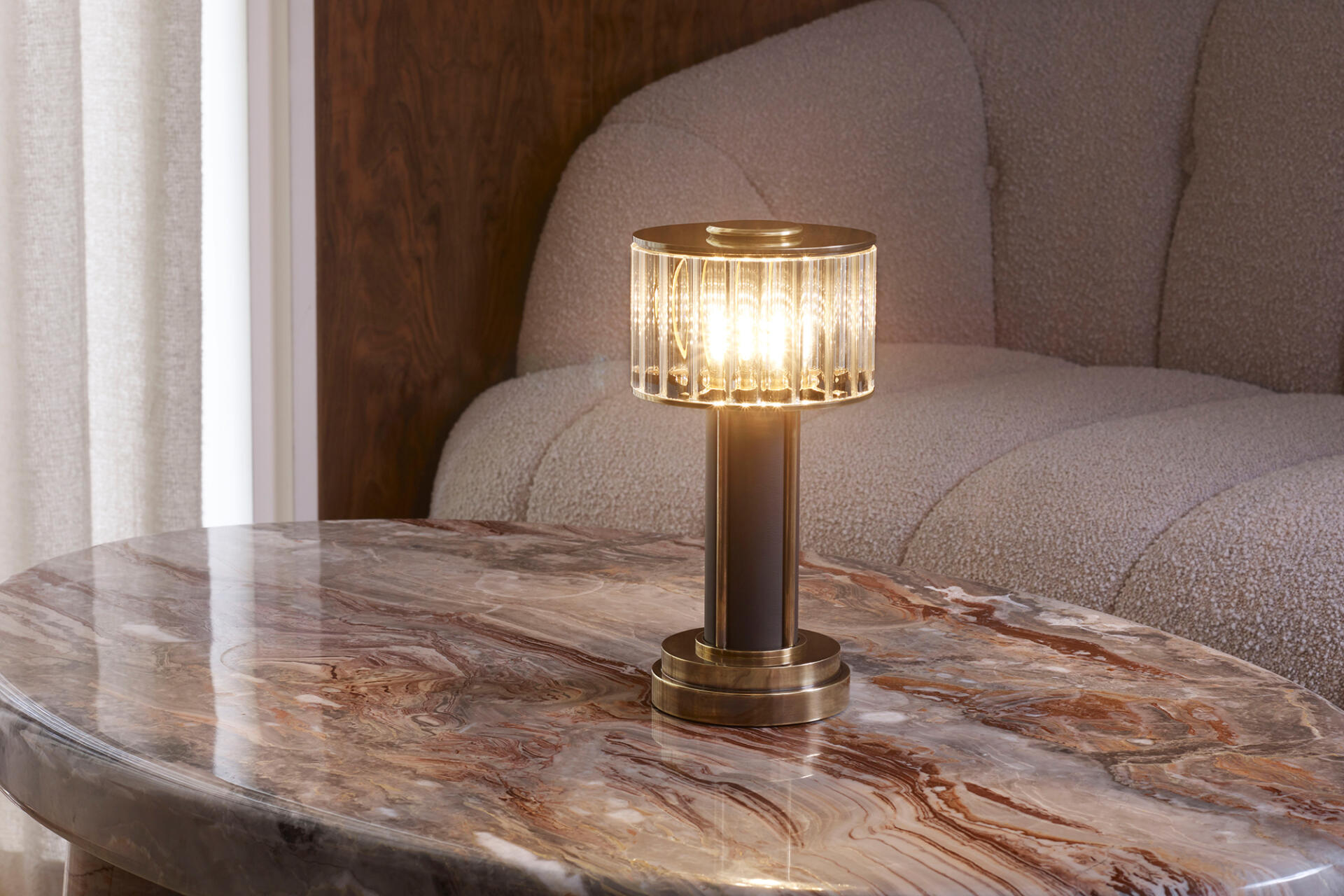 Mini Glass Drum cordless table lamps for hospitality