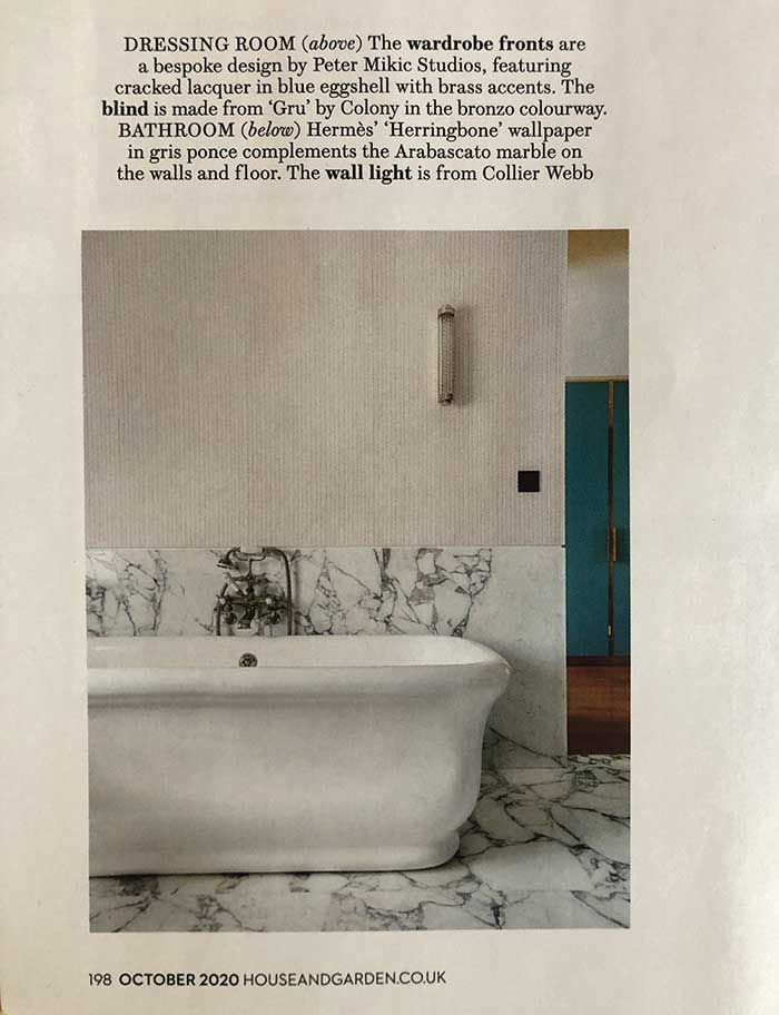 Collier Webb Classic Shot Light in a Peter Mikic bathroom design
