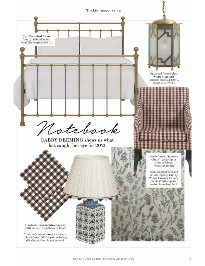 Collier Webb Steppe Lantern featured in House and Garden December 2020