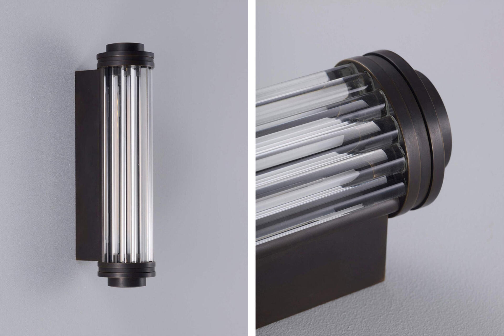 Collier Webb Classic Shot Light featuring glass rods in an Art Deco style