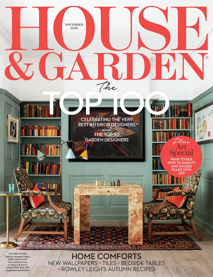A bespoke four poster brass bed featured in House and Garden November 2020