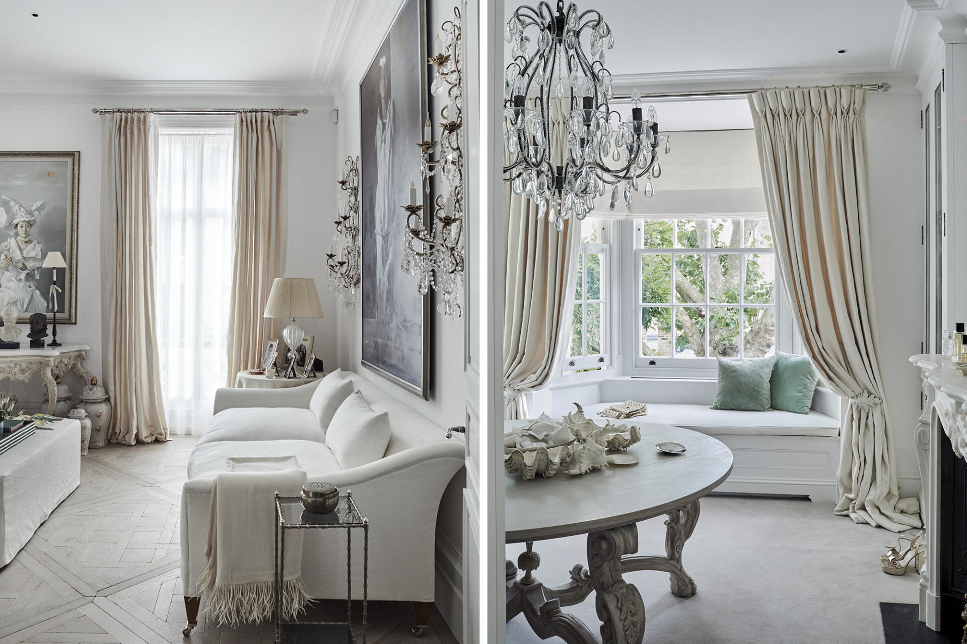 Alison Henry's London home with curtain rail and finials by Collier Webb