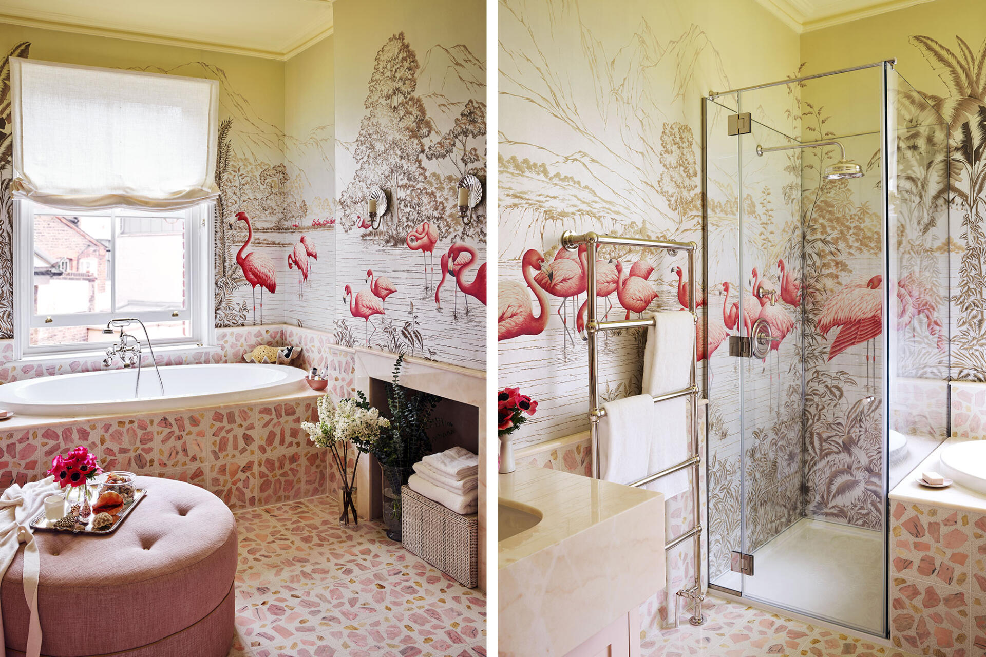 de Gournay Flamingos wallpaper