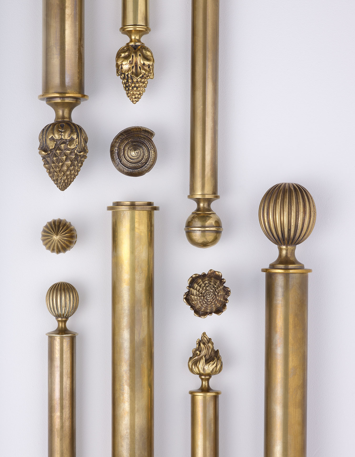 brass picture rail pole and finials