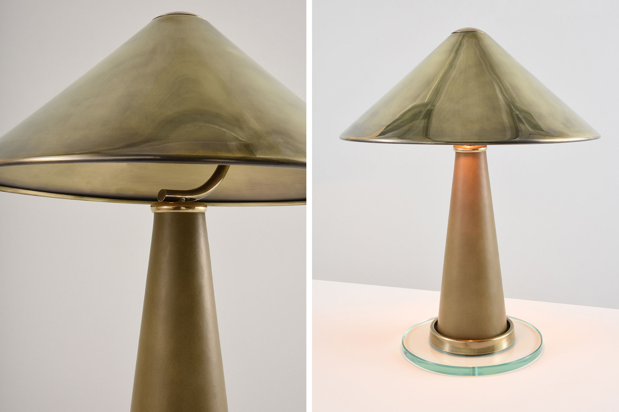 Collier Webb Shitake - a leather a brass table lamp