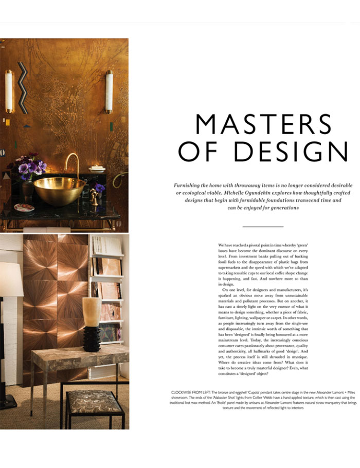 bespoke Alabaster wall lights designed by Collier Webb and featured in The Journal