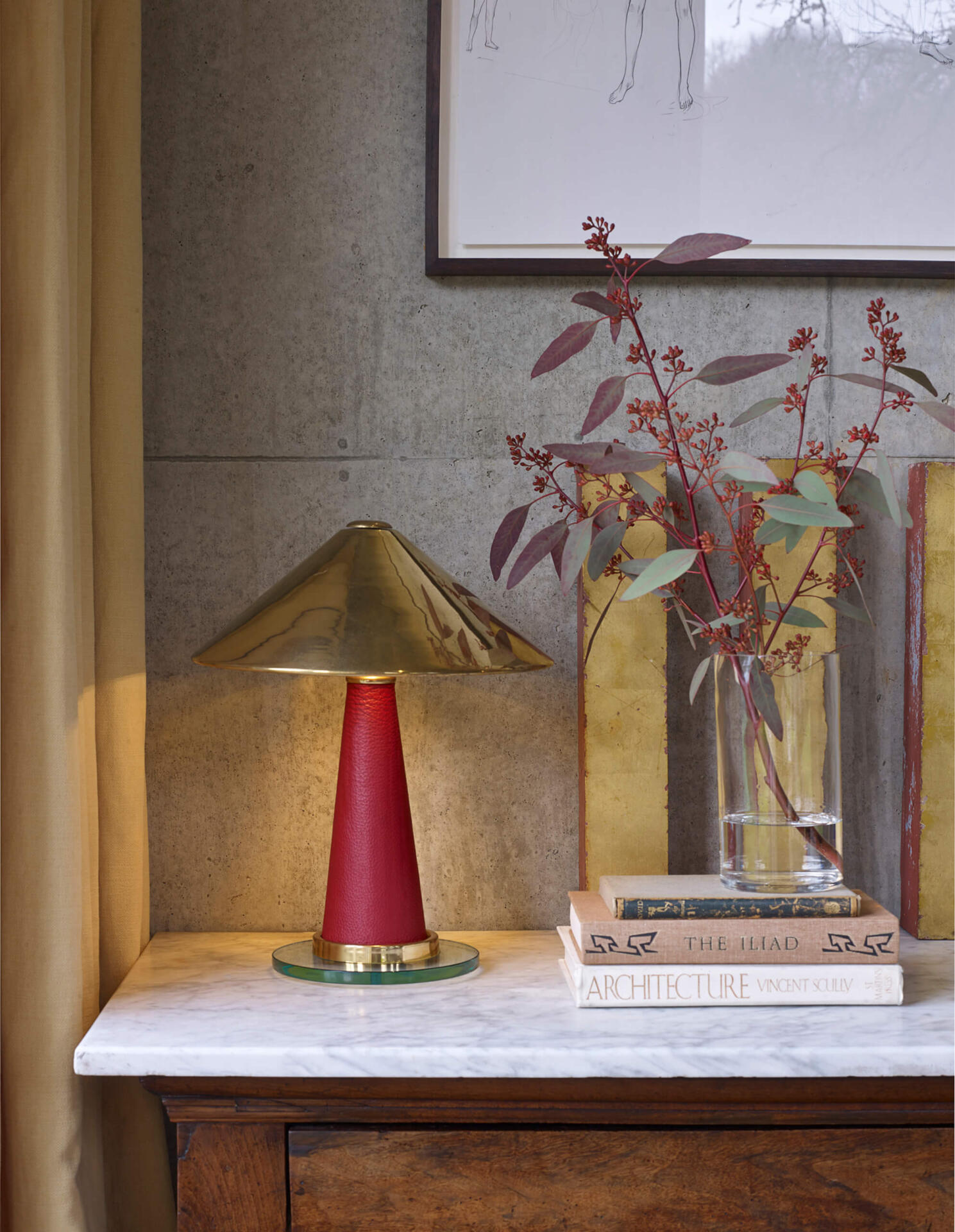 The Shitake table lamp - a leather wrapped light with a brass spun shade