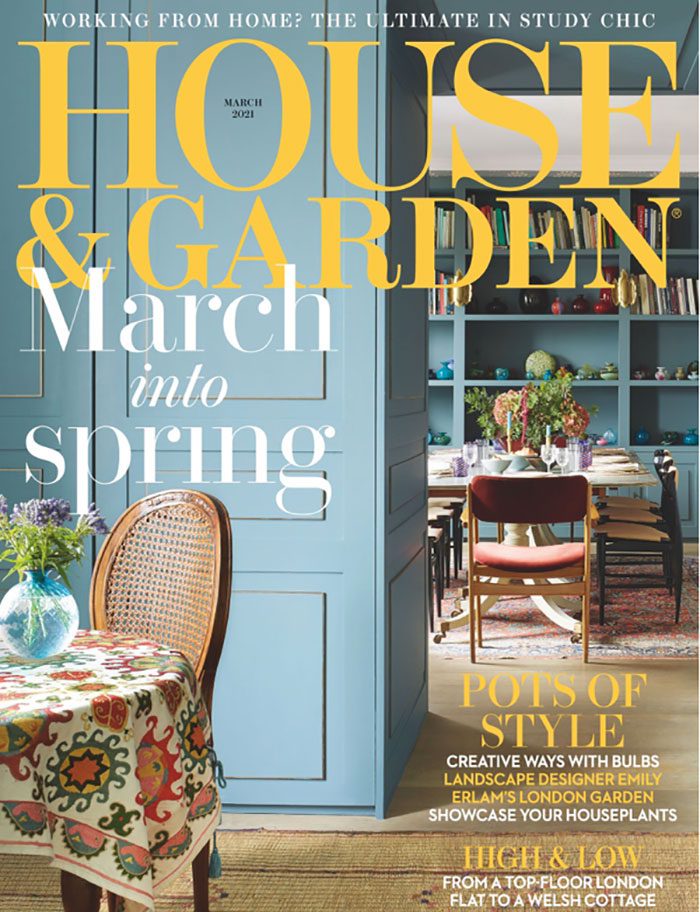 House and Garden March 2021 featuring Collier Webb brass picture rail