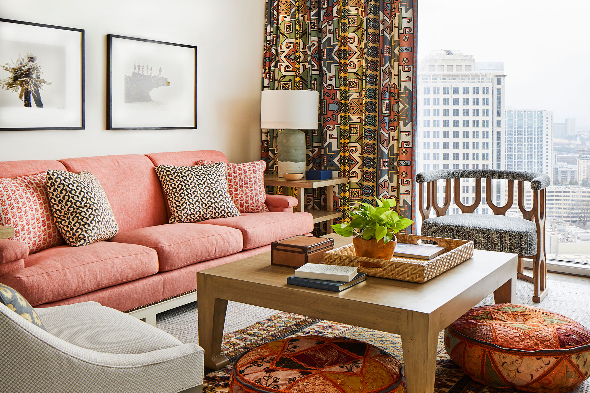 Lindsay Walters living room interior design for a Atlanta apartment
