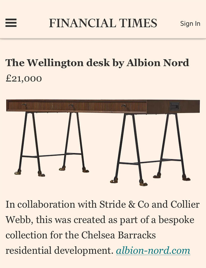 The Wellington Desk by Albion Nord for Chelsea Barracks Collection