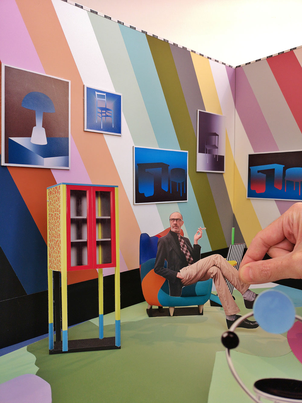 """Paolo Giardi featured in his new work, a diorama entitled """"Memphis Vice"""""""