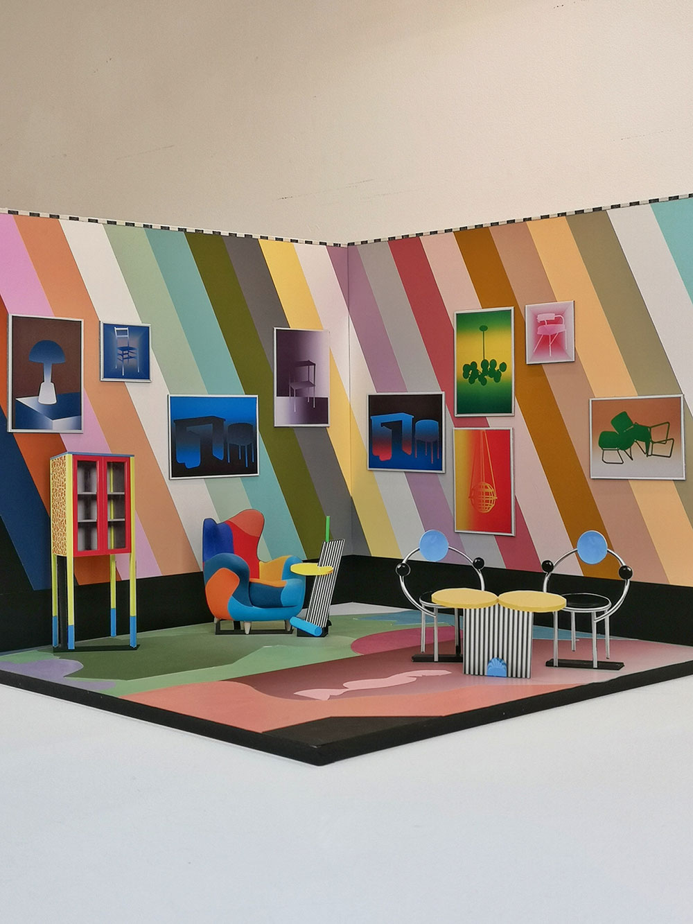 """""""Memphis Vice"""" diorama including a curated range of Paolo's recent works"""