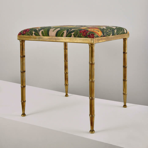 luxury upholstered brass stool by Collier Webb