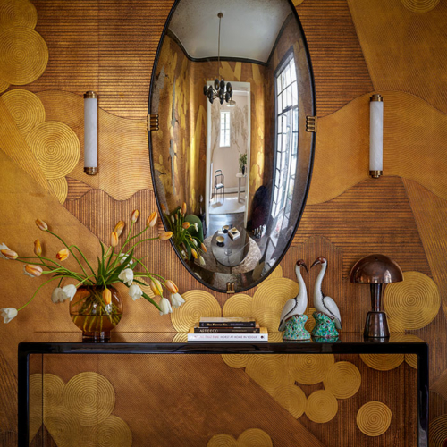 Oval Convex paired with 'Namban' wallcovering by de Gournay